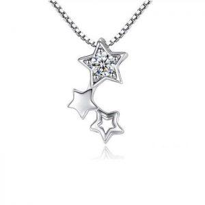 Cadena y Colgante Trio Estrellas Plata