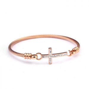 Pulsera Cross Oro Rosa